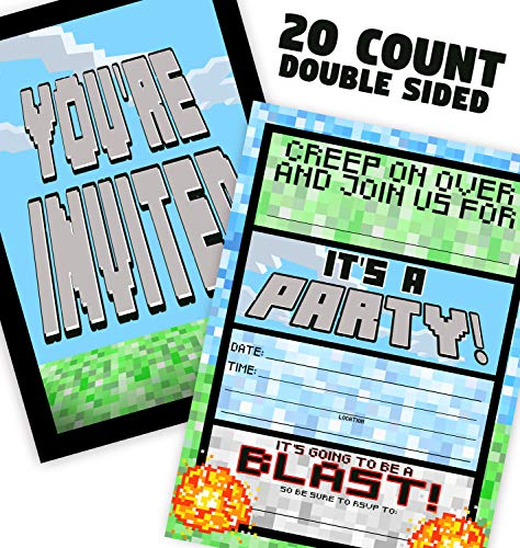POP parties Pixel Party Invitations - 20 Invitations + 20 Envelopes - Double Sided - Video Game Invitations - Game Truck Party Supplies - Brights 20ct]()