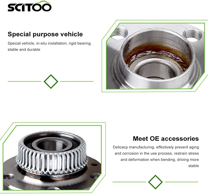 SCITOO Compatible with Both 2 512012 New Complete Rear Wheel Hub Bearing Assembly fit 2000-2006 Audi Volkswagen 5 Lugs W//ABS
