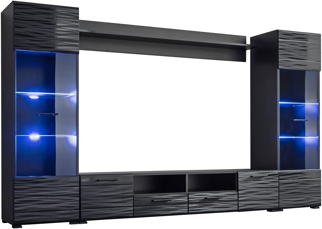 Amazon Com Meble Furniture Rugs Modica Modern Entertainment Center Wall Unit With Led Lights 65 Tv Stand Furniture Decor
