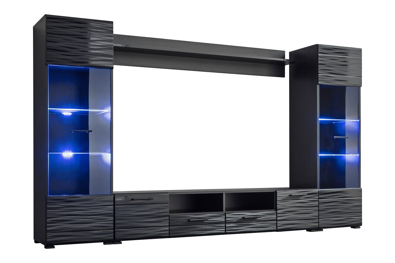 Meble Furniture Rugs Modica Modern Entertainment Center Wall Unit with LED Lights, 65 TV Stand