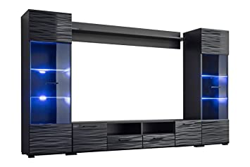 Meble Furniture U0026 Rugs Modica Modern Entertainment Center Wall Unit With  Blue LED Lights 65u0026quot;