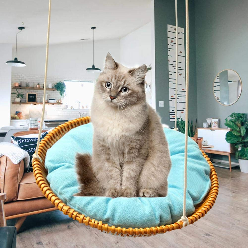Hammock - Sleeping Nest for Cats - Wicker Swinging Bed with Hemp Rope ,Safe Comfortable Oval Cat Hammock Hanging Bed Breathable Cages by Yunt-11 (Image #2)