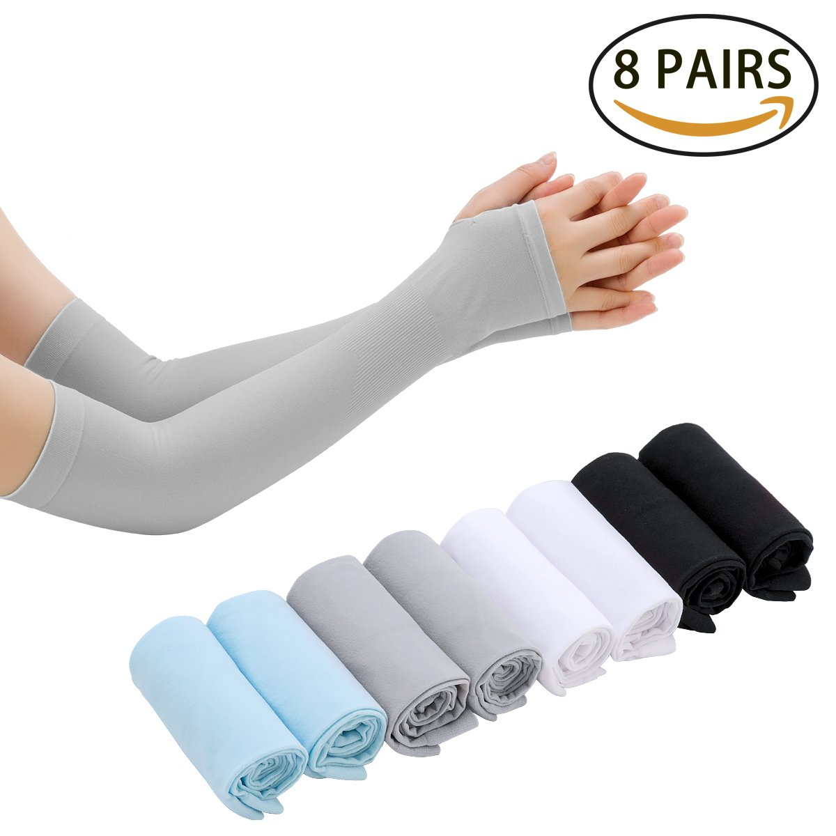 LISALIFE UV Sun Protection Cooling Arm Sleeves for Men & Women - Unisex Sun Sleeves Cover With Thumb Hole for Cycling,Running,Driving,Basketball,Hiking,Golf & Outdoor Activities(8 Pairs) by LISALIFE (Image #1)
