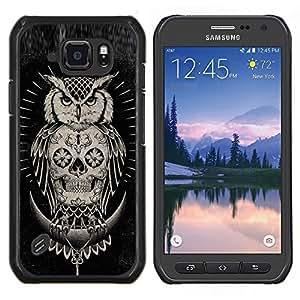 "Be-Star Único Patrón Plástico Duro Fundas Cover Cubre Hard Case Cover Para Samsung Galaxy S6 active / SM-G890 (NOT S6) ( Cráneo búho nativo americano Negro"" )"