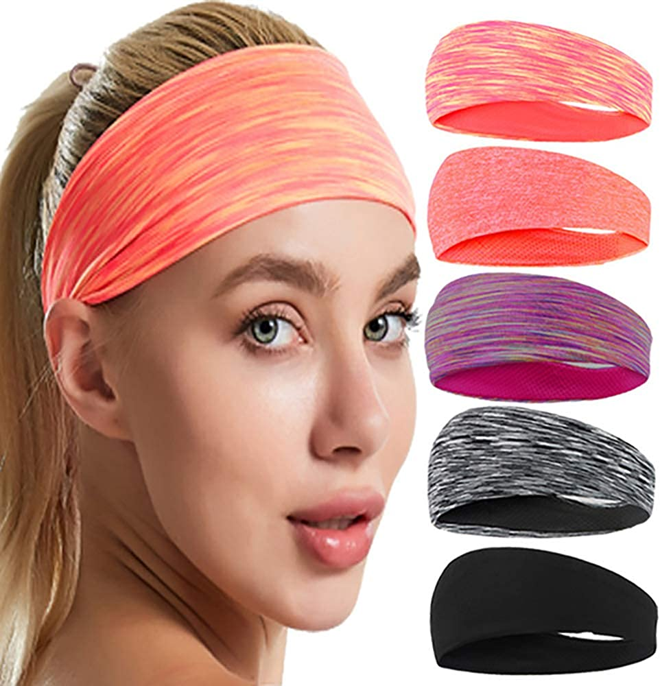 Workout Headbands for Women, Athletic Sweet Sweat Headband for Yoga Running Exercise with 5 Colored Packs Fits All Women and Men