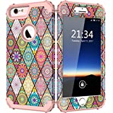 """Hocase iPhone 6 Plus Case with Vintage Exotic Flower Pattern and Drop Protection Hybrid Dual Layer for iPhone 6 Plus / 6s Plus 5.5"""" - Rose Gold"""