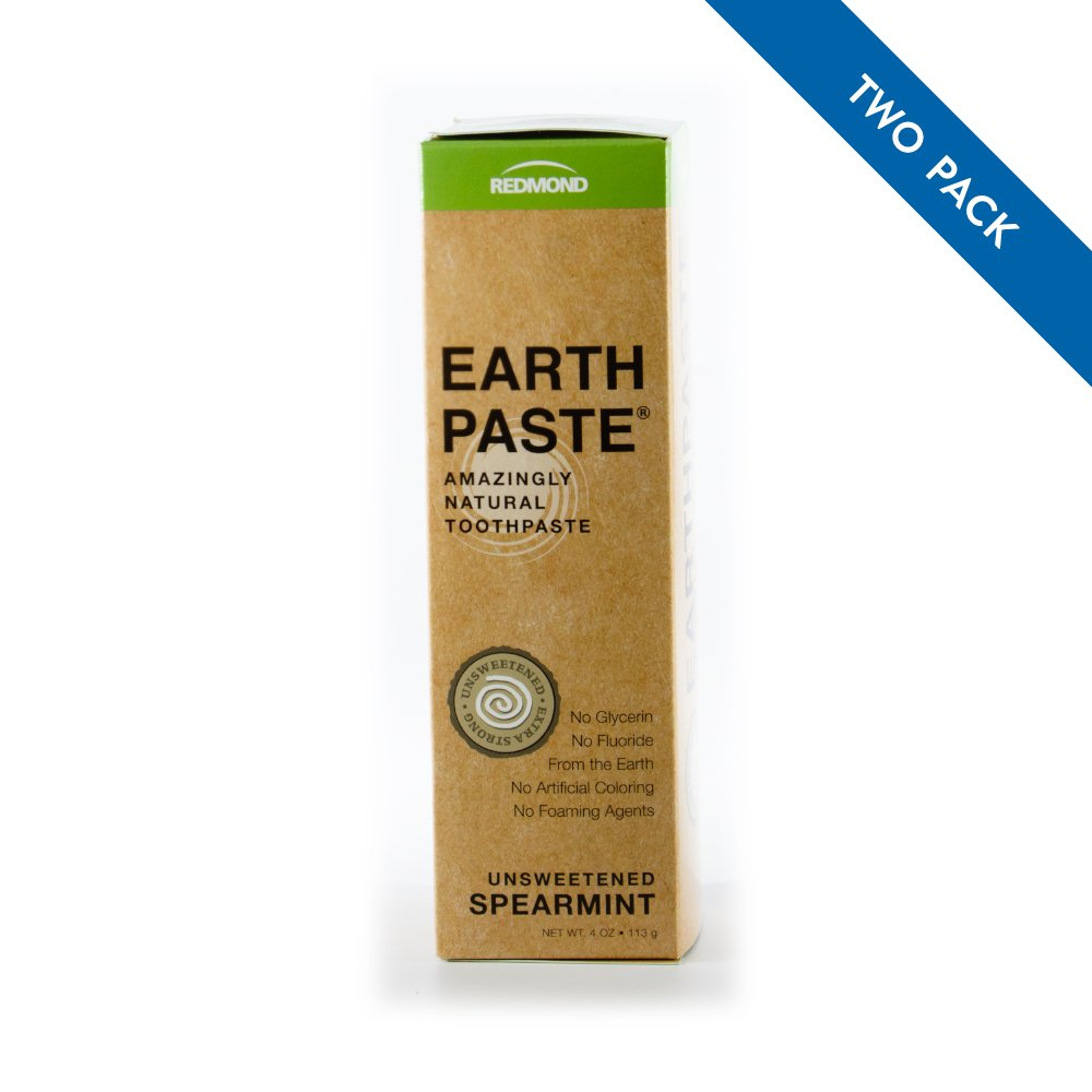 Redmond Earthpaste - All Natural Non-Fluoride Vegan Organic Non GMO Real Ingredients Toothpaste, Spearmint 4 Ounce Tube (2 Pack)