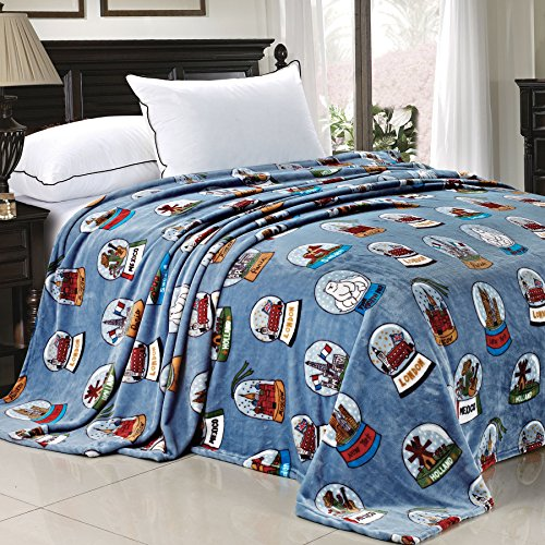 - Home Soft Things Light Weight Small World Collection Printed Flannel Fleece Blanket Cities of The World Blue (Queen)