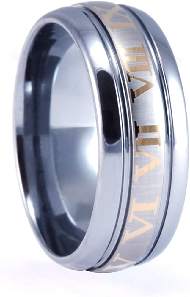 Womans Tungsten Carbide Ring with 18KT Gold Plated Roman Numeral Design 9mm Mens