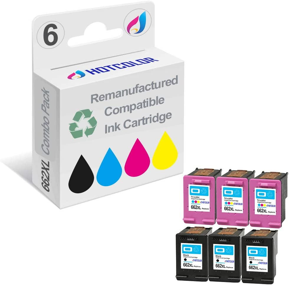 HOTCOLOR 6 Pack 662XL (3 Black+3 Color) Replacement for HP 662XL HP 662 XL Ink Cartridge for for Deskjet Ink Advantage 1515 3515 3545 Printer (CZ105AL/ CZ106AL)