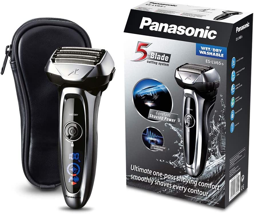 Panasonic ES-LV65-S803 Premium Wet & Dry - Afeitadora Eléctrica para Hombre/Máquina de Afeitar de Láminas para Barba Recargable e Inalámbrica Fabricada en Japón (Motor Lineal, Wet&Dry, 5 Cuchi