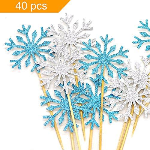 HansGo 40 Pcs Glitter Snowflake Cupcake Toppers Cake Picks Dessert Table Food Decoration Picks for Birthday Wedding Baby Shower Party