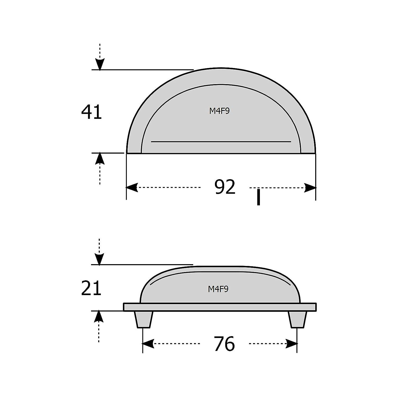 76 mm BA F9 Serie M4TEC Muschelgriff Schalengriff M/öbelgriff Schubladengriff Schlafzimmer K/üchenschrank Nickel