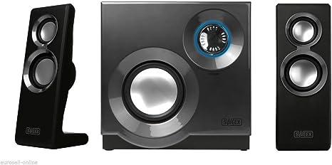 Eurosell – Designer Sistema de Sonido – Sistema de Altavoces 2.1 para televisor/PC Ordenador Portátil Gamer Gaming TV Box Cajas con Subwoofer Negro Sistema de Altavoces: Amazon.es: Informática