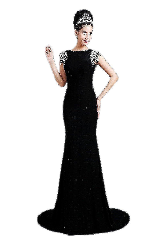 Babyonline® Damen Lang Schwarz Kurz Arm Meerjungfrau Partykleider Abendkleid Cocktailkleider