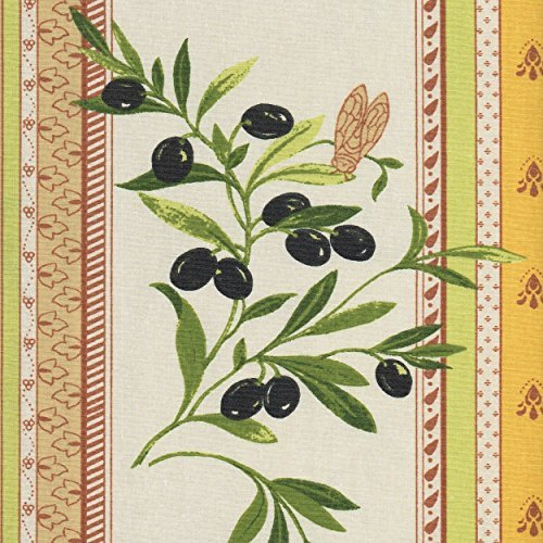 Provençal Stripe Olives Fabric (Provençal Yellow, Latte Beige and Cream White) - 100% Cotton Acrylic-coated Fabric (Wipe Clean) - 61 Inches (155cm) Wide - Per Yard Increment