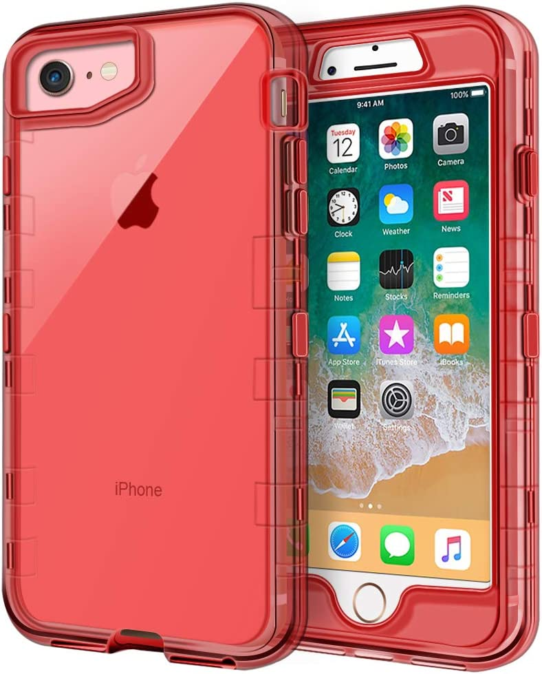 iPhone 8 Case, iPhone SE Case, Anuck 3 in 1 Heavy Duty Defender Shockproof Full-Body Clear Protective Case Hard Plastic Shell & Soft TPU Bumper Cover for Apple iPhone 7/8/SE 4.7 inch - Clear Red