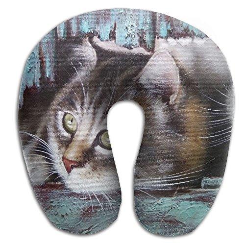 Owen Pullman Travel Pillow Oil Painting Cats Memory Foam Neck Pillow Comfortable U Shaped Neck Support Plane Pillow -