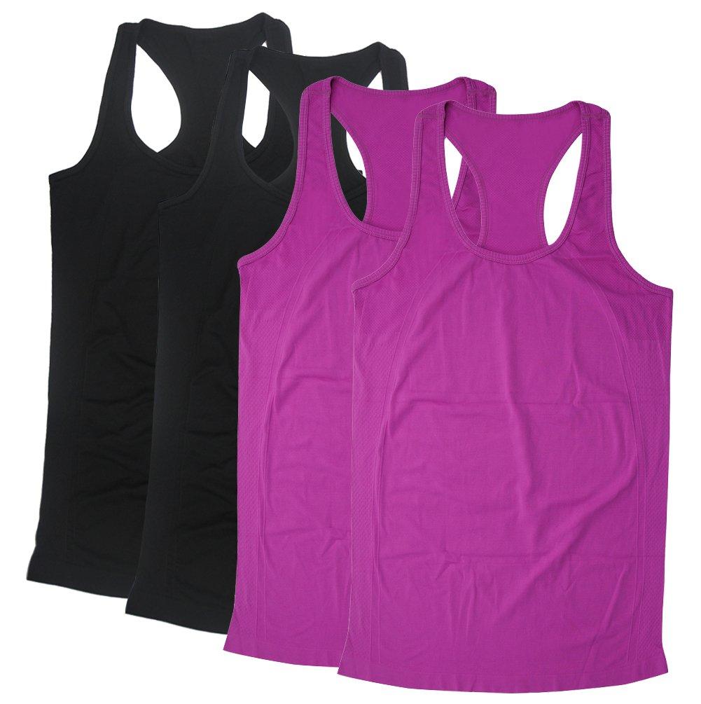 Racerback Tanks, BollyQueena Racerback Tank For Women Women's 4 Packs Multicoloured S