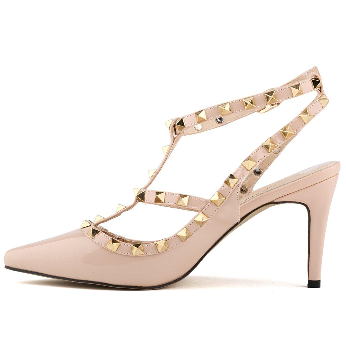 Nieten Pumps Damen Stilettos Sandaletten PU Leder Leder Leder Riemchen Pumps Party Schuhe Spitz 8cm Freizeit Knopf Sommer 98194f