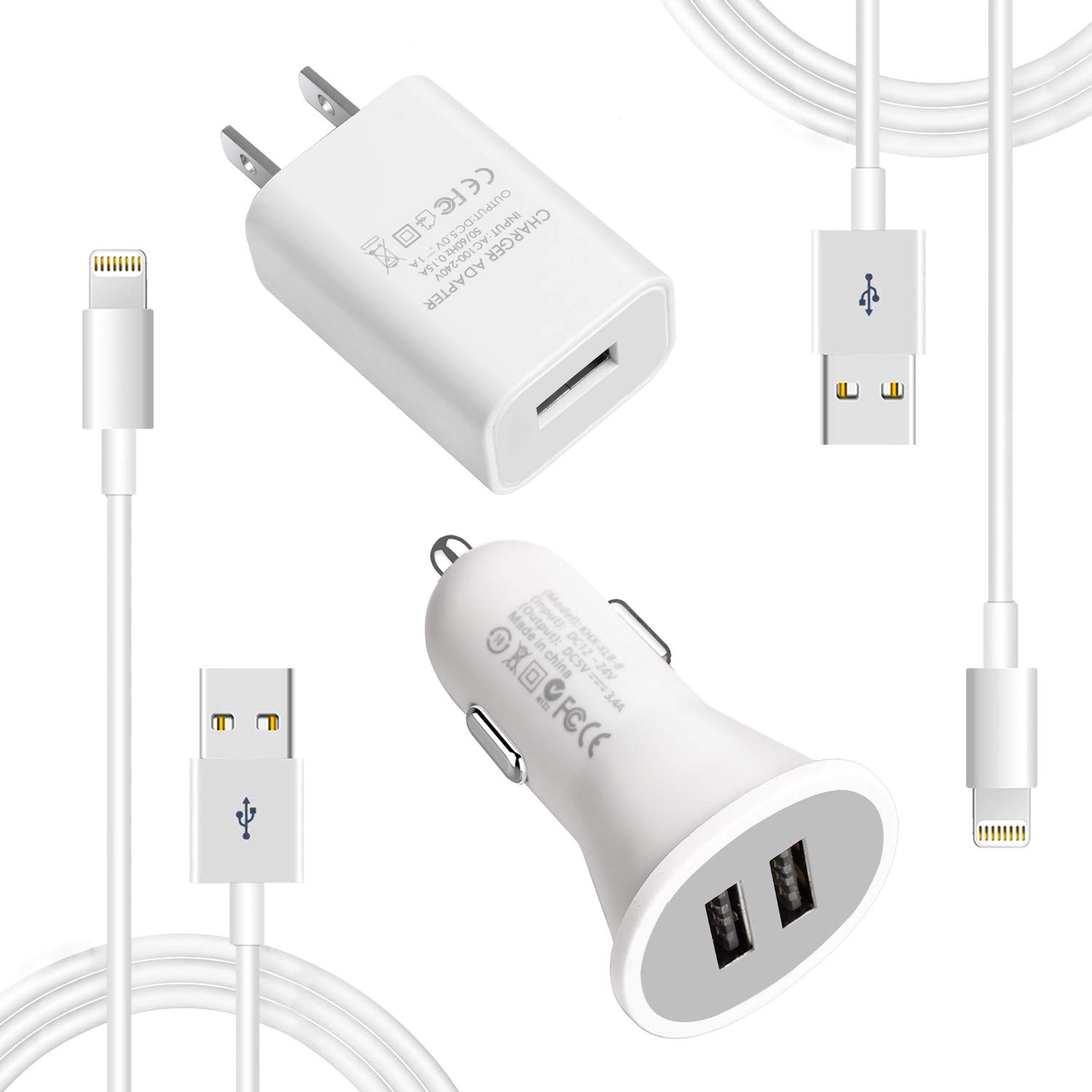 MFI Certified Wall & iPhone car Charger, Lightning Car Charger Cable kit for iPhone 7/7plus/8/8plus/xs/xsmax/xr 4 Pack (White)