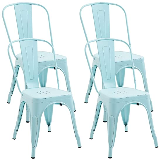Duhome Set of 4 Metal Chairs Distressed Style Outdoor Use Stackable Chic Dining Bistro Cafe Side Chairs Dream Blue