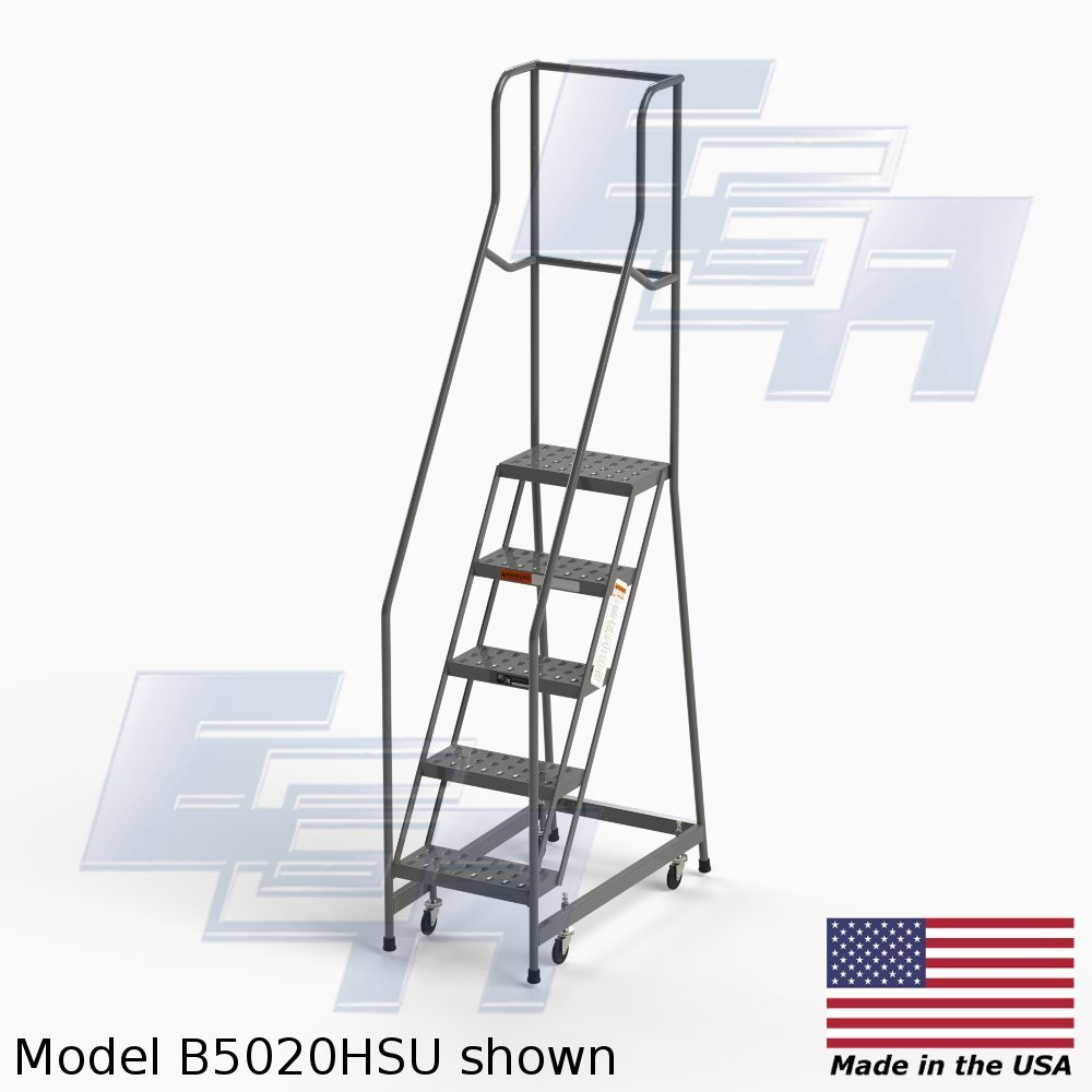EGA B5020HSU Steel Industrial Rolling Ladder 5-Step, 16'' wide Perforated Tread, Grey, 450lb. Capacity, Set Up