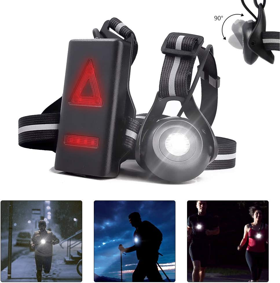 welltop Running Light Lamp LED Chest Light USB Rechargeable Body Lamp 3 Modes with Taillight and Adjustable Strap for Night Runners Joggers Walking Camping Hiking