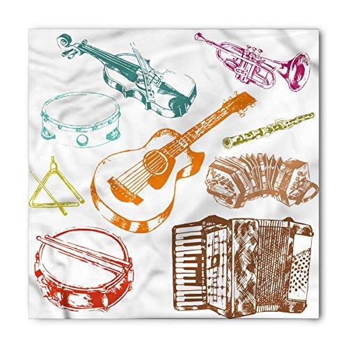 Lunarable Unisex Bandana, Music Concert Instruments Musical, Brown Orange