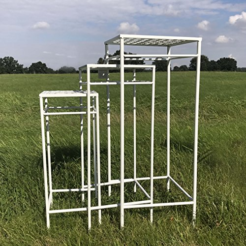 The French Country Style Plant Stands, Set of 3, Nesting Tables, Square Woven Tops, Slim Line Base, Romantic White Rust Resistant Metal, Approx. 29, 25, 21 Inches Tall, By Whole (Country Plant Stands)