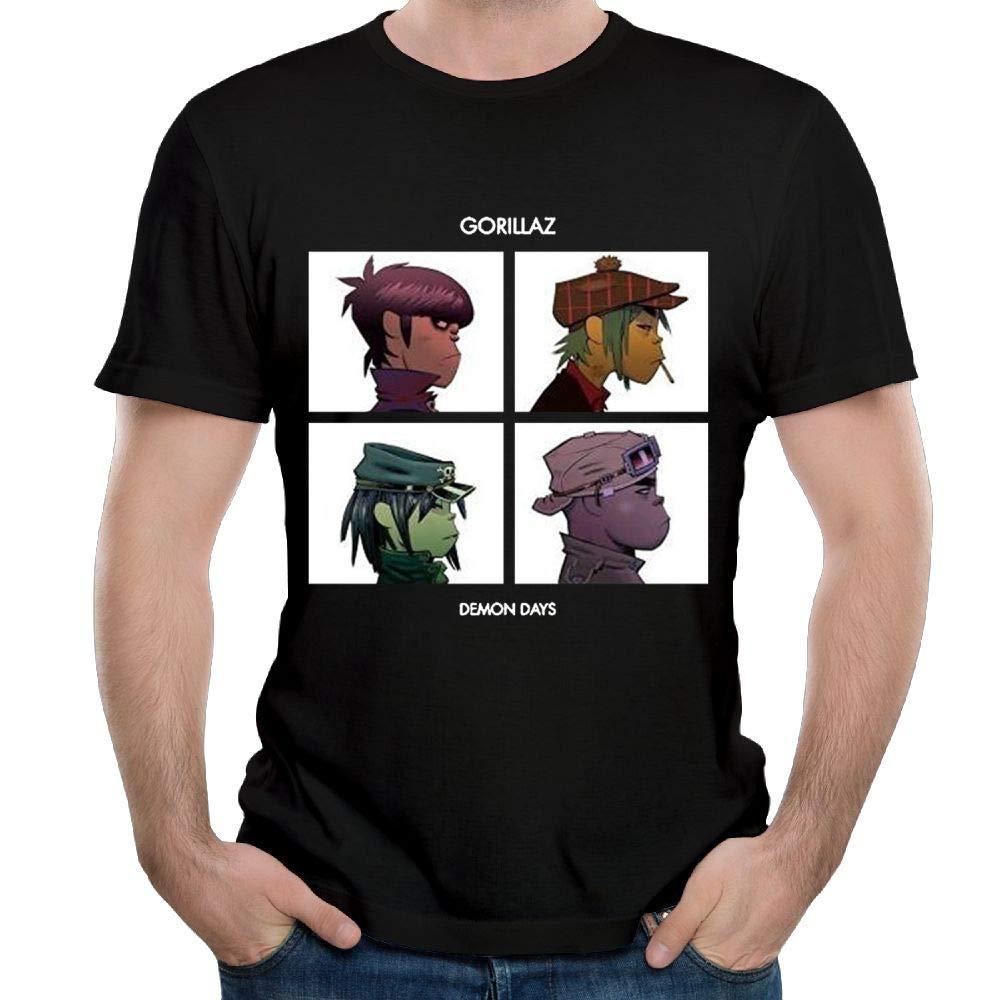 Purpubble Mens Gorillaz Demon Day Cool Travel Black 4XL Short Sleeve Shirts