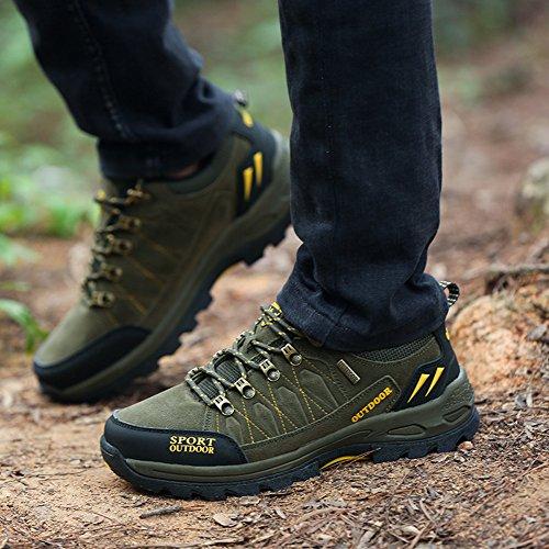 GOMNEAR Hiking & Trekking Boots Men Shoes Low Top Winter Outdoor Non Slip Climbing Sneakers Green niwlYBon