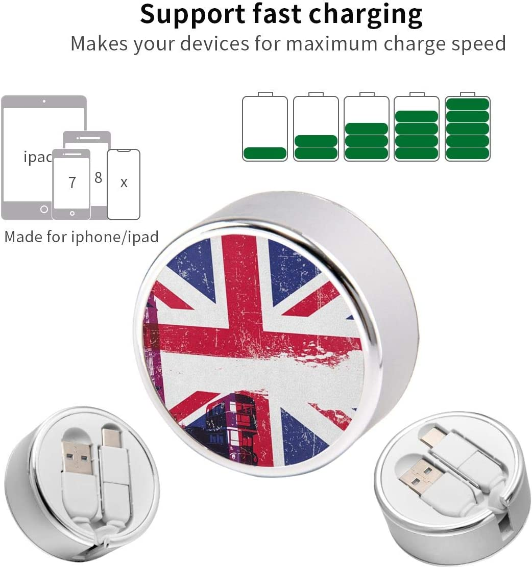 Round USB Data Cable 3 Charging Cable Can Be Charged and Data Transmission Synchronous Fast Charging Cable-National Flag
