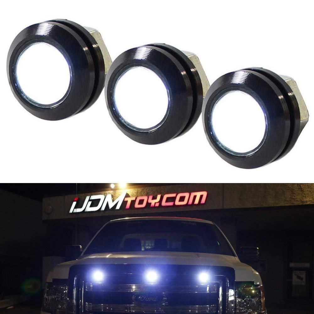 iJDMTOY SVT Raptor Style White LED Grille Lighting Kit Universal Fit For Truck or SUV, 3-Piece High Power Xenon White Grill Marker Light Set iJDMTOY Auto Accessories Universal Front Grill Mounting LED Lamps