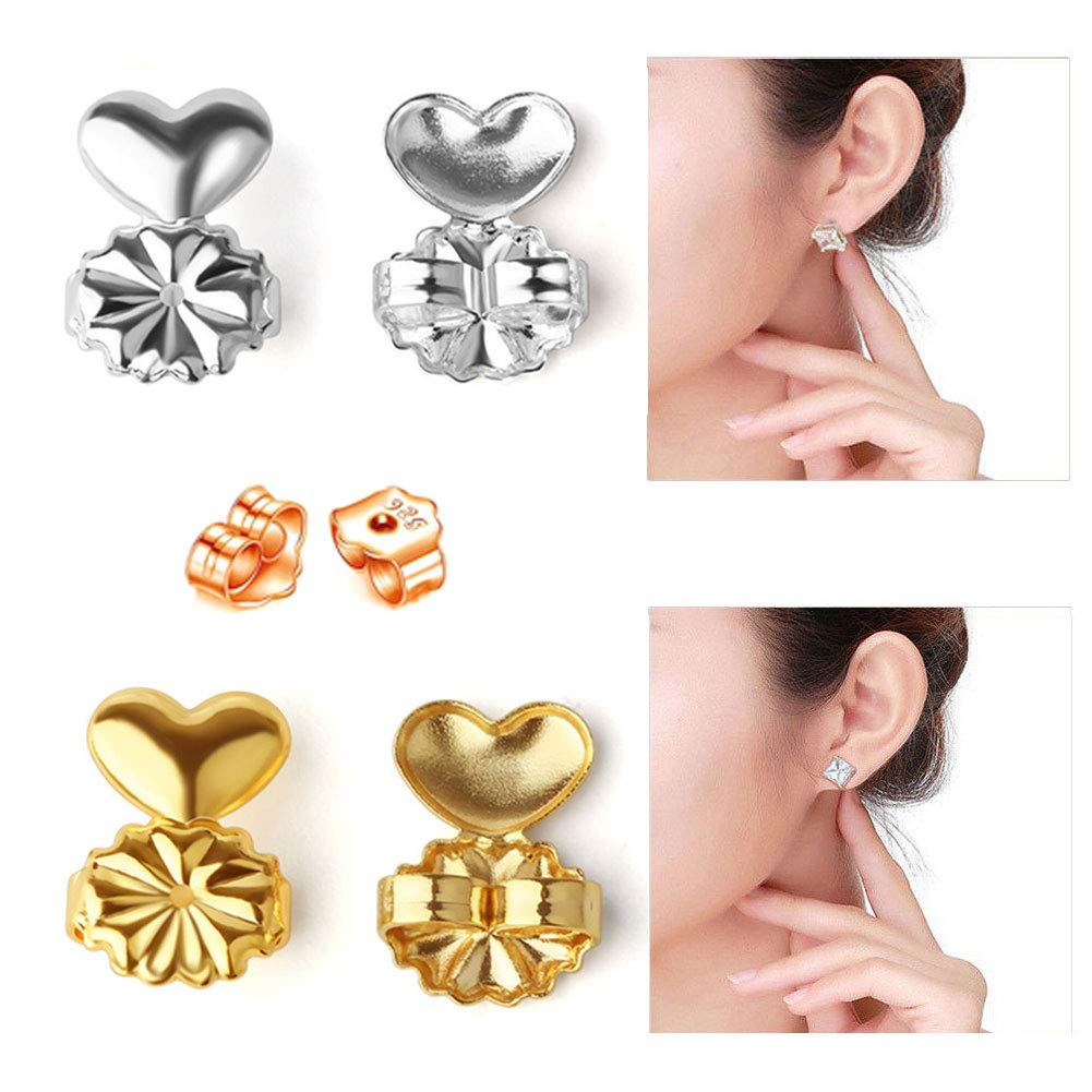 Passion Earring Lifters, 2 Pairs of Adjustable Hypoallergenic Earring Lifts (1 Gold + 1 Silver) Fits All Post Earrings + Bonus 1 Pair Sterling Earring Backs,4.0mm (3 Pairs)