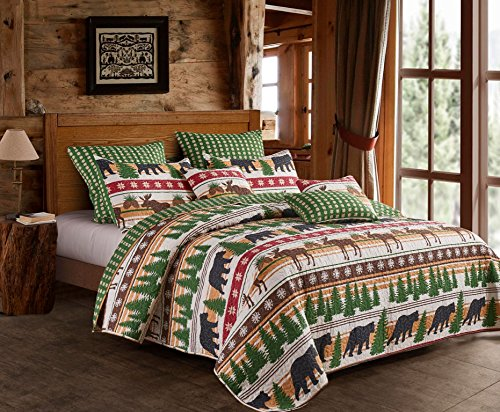Virah Bella Cabin Lodge Style Winter Christmas Wilderness Black Bear and Moose 3pc King Size Quilt and Pillow Sham Set ()