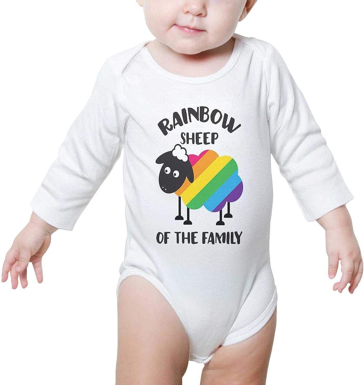 I am The Rainbow Sheep af My Family Long Sleeve Organic Cotton Baby Onesies Bodysuit Cute for Kids Boys Girls