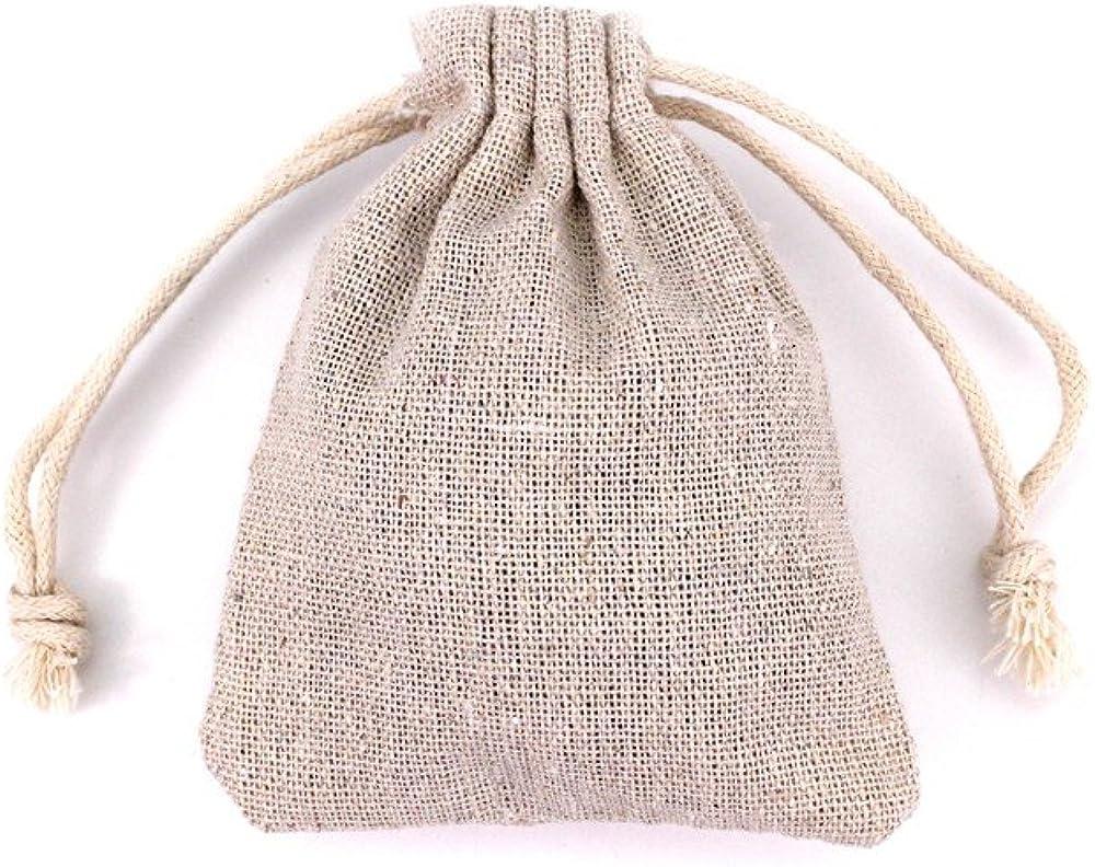 RUBY- 50 Bolsa de Lino, bolsitas de Tela, Saco arpillera, Bolsas para el Bricolaje, artesanales, para popurrí, reuniones, Bodas, Son fáciles de Cerrar y Abrir