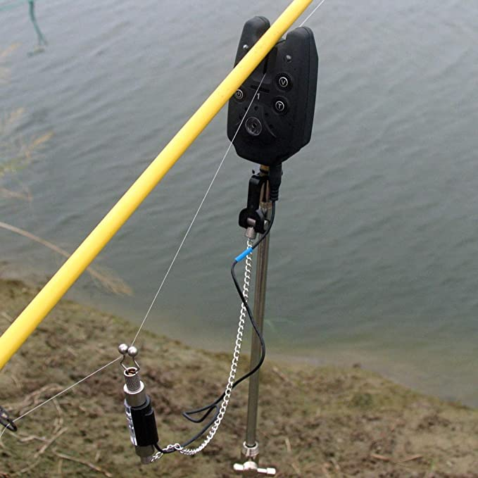 Lixada Angeln Elektronischer Beissalarm Set 4 Swinger 1 Empf/änger mit LCD Bildschirm