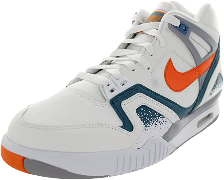 Nike Men's Air Tech Challenge II White/Orng Brst/Cly Bl/Flt SLV Tennis Shoe