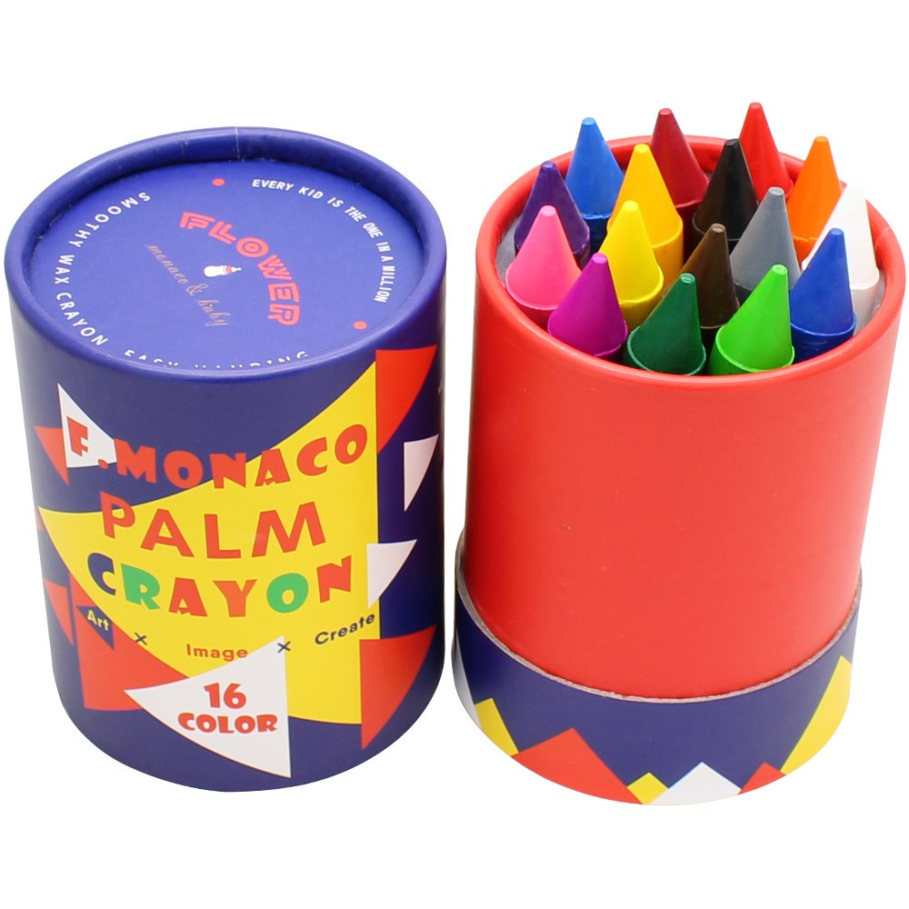 Jumbo Crayons for Toddlers, 16 Colors Non Toxic Crayons, Easy to Hold Large Crayons for Kids, Safe for Babies and Children Flower Monaco by Lebze