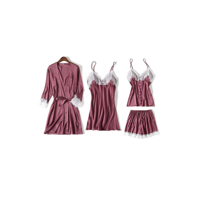 Bean paste Women's Sleepwear 4 Pcs Pajamas for Women Lace Lingerie Pajama Silk with Chest Pad