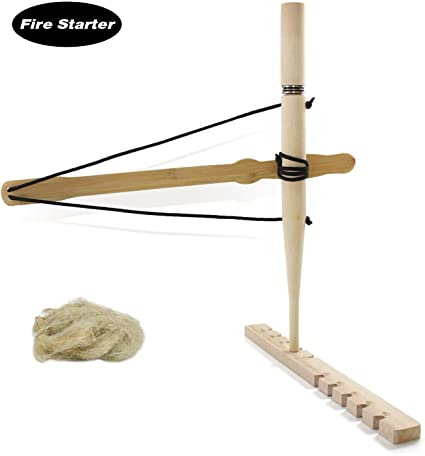 Hand Collected Hand Carved Authentic Bow Drill Friction Fire Kit All Natural