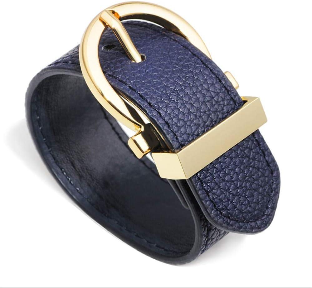 Yiph-Belt Cinturón de Ocio Pulsera de Cuero para Hombre Estilo Punk Pulseras Brazalete Brazalete para niños Niños Chicas Adolescentes Mujeres Negro Marrón Azul Gris Amarillo Fucsia (Color : Azul)