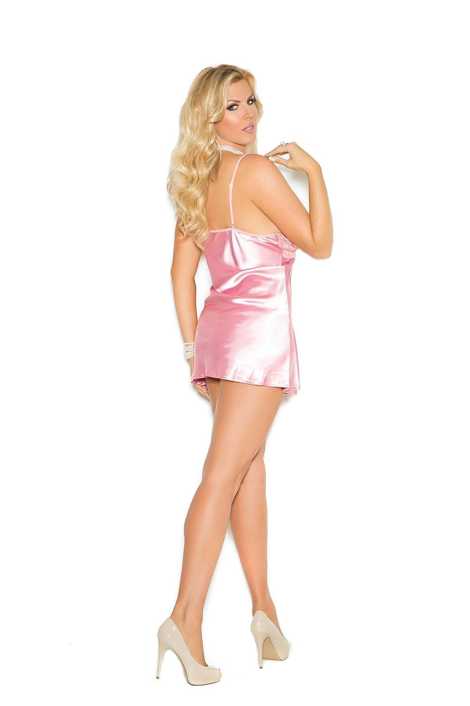 1edb0d045 Amazon.com  Elegant Moments Women s Plus-Size Charmeuse Babydoll with Lace  Bodice Cups  Clothing