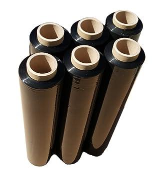 Stretchfolie Wickelfolie Schwarz 6 x Rolle 23 my Verpackungsfolie 2,4kg Roller Schwarz Wickelfolie für Paletten Verpackungsfo
