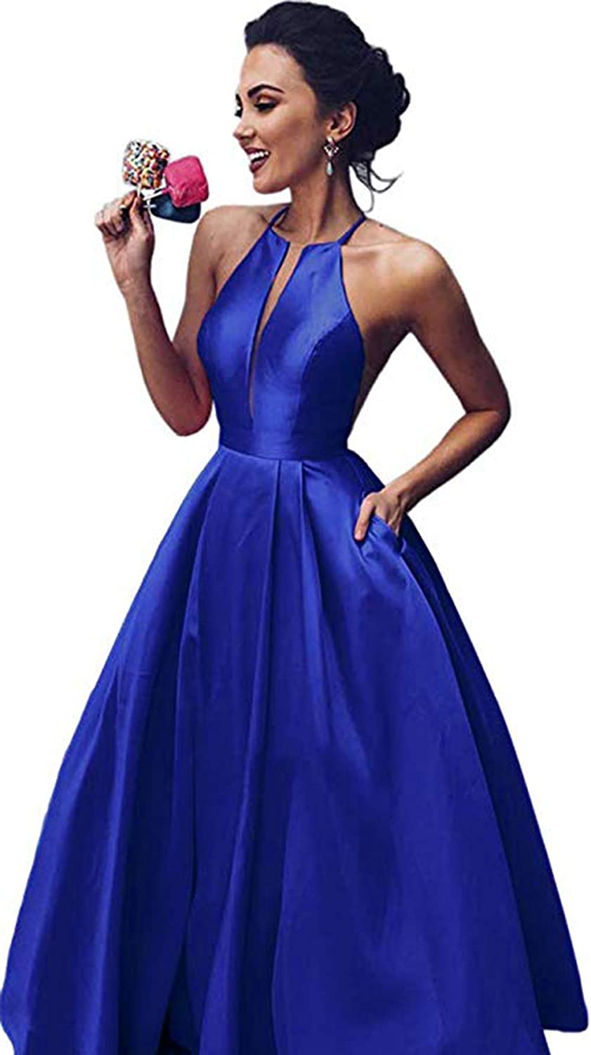 Royal bluee Rmaytiked Women's Halter Prom Dresses Long 2019 Satin A Line Formal Evening Ball Gowns with Pockets