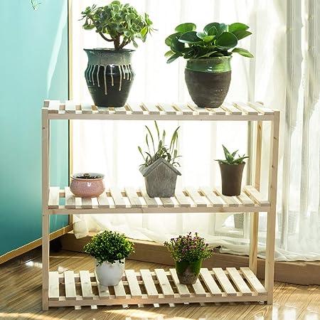 YXWa Puesto de Plantas Marco de Escalera de Flores de 3 Capas, Madera, Soporte de Flores, Interior, de múltiples Capas, Varios tamaños Puesto de Flores (Tamaño : 80 * 20 * 60): Amazon.es: Hogar