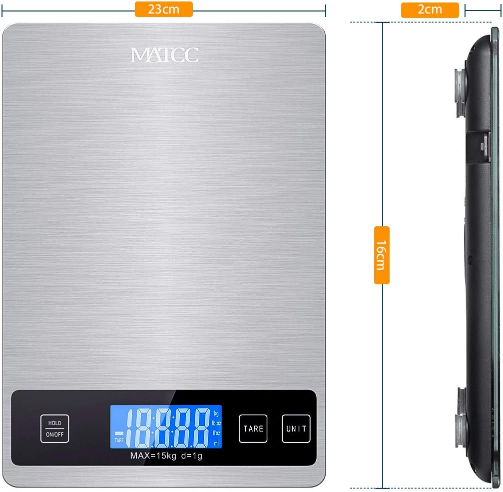 188.18 lb Perfekt für die Küche MATCC Küchenwaage Digital