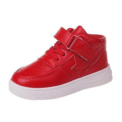 WARMSHOP Toddler children Boys Girls Solid Color Hook & Loop High Sport PU Leather Running Sneakers